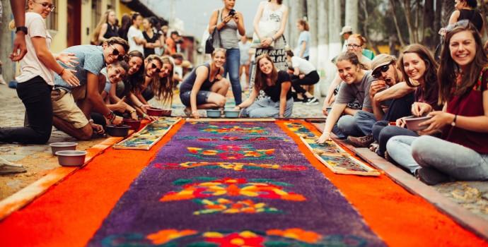 Guatemala carpet with border